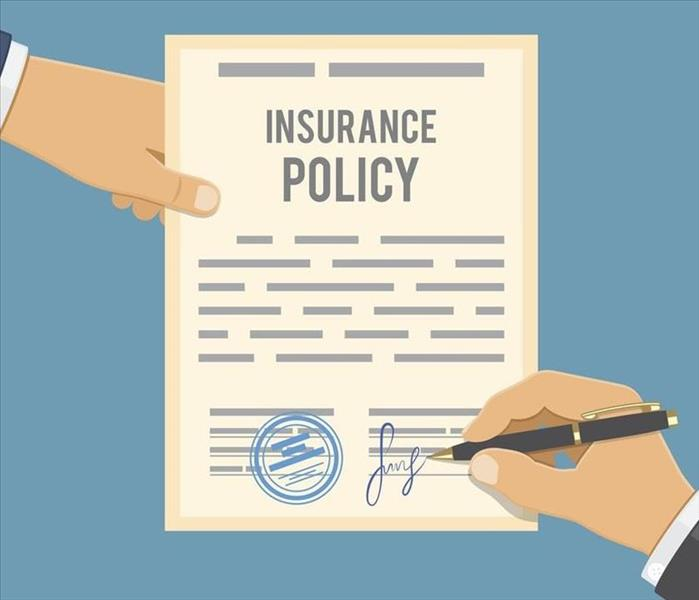 Animation of two hands holding a insurance policy