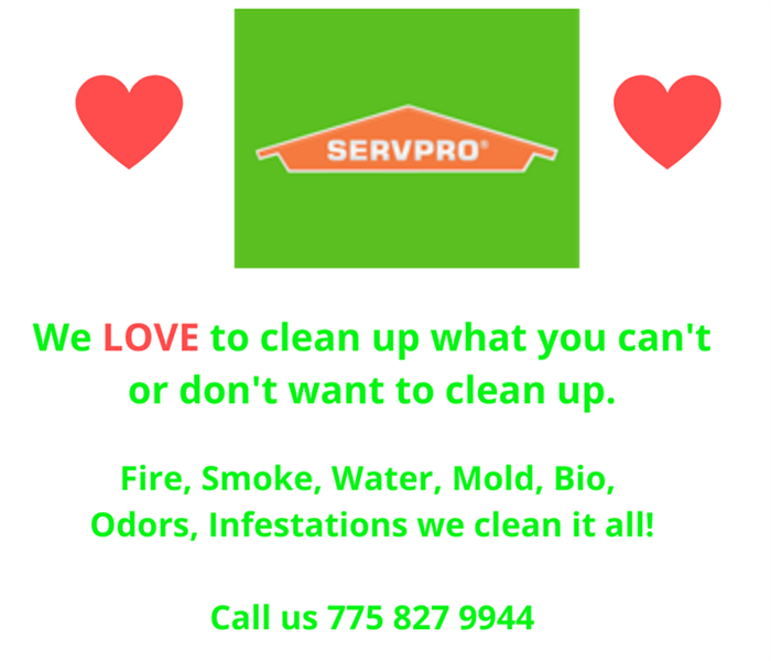 Red Hearts with Green SERVPRO logo  with We Love to clean what you don't want or can't clean
