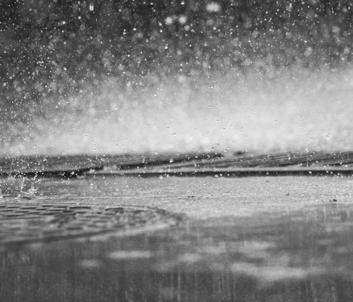 Grey Scale Picture of Rain and Water